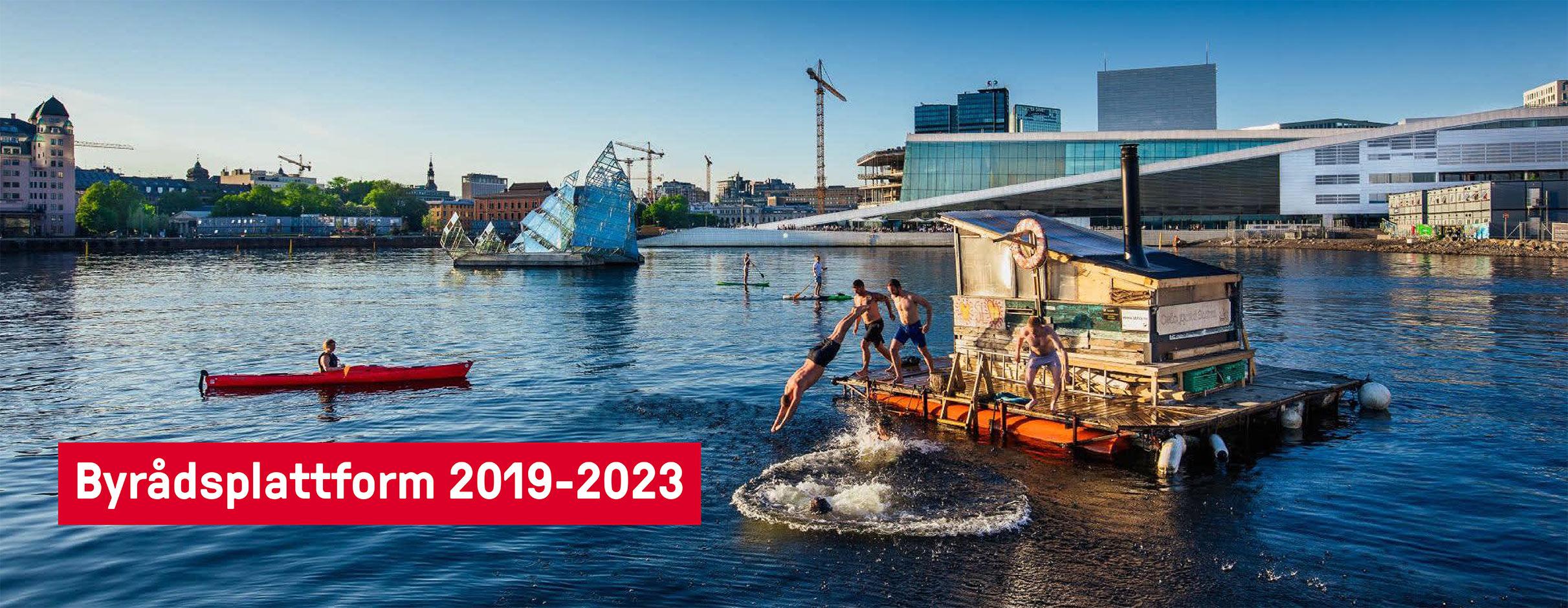 Byrådsplatform 2019 til 2030. Tekst over foto